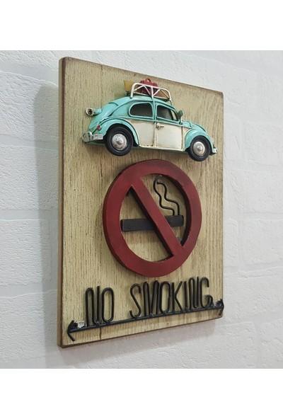 Evim Tatlı Evim Metal Araba Figürlü Ahşap No Smoking Tablo