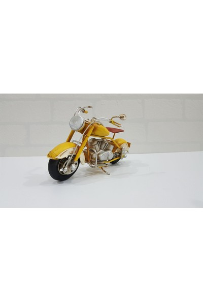 Evim Tatlı Evim Dekoratif Metal Motosiklet Yellow Storm 19 cm