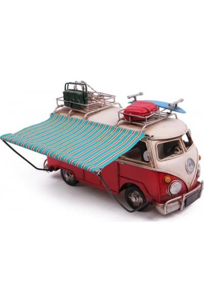 Evim Tatlı Evim Metal Nostaljik Çadırlı Kırmızı Vosvos Minibüs 28 cm
