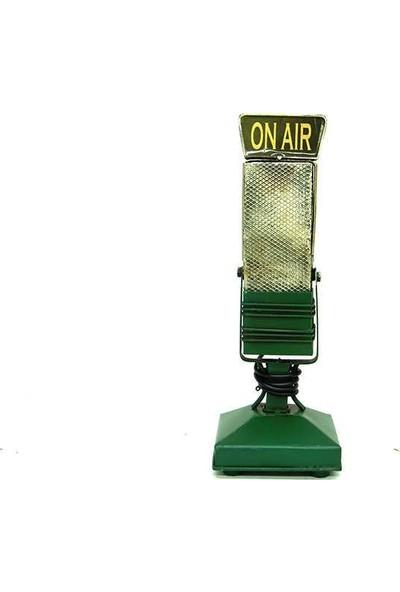 Evim Tatlı Evim Dekoratif Nostaljik Metal Mikrofon Yeşil 24 cm
