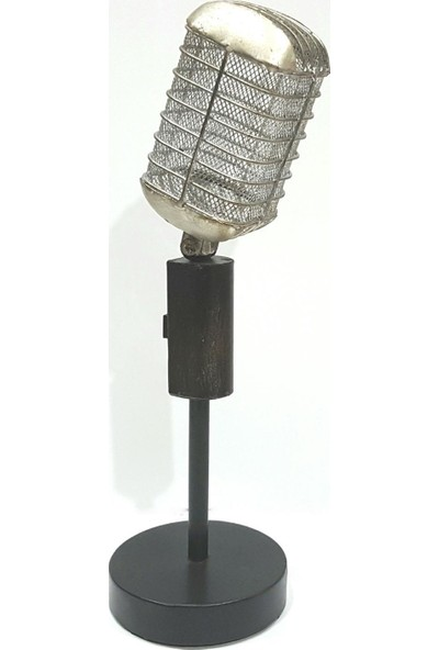 Evim Tatlı Evim Metal Nostaljik Mikrofon Biblo 37 cm