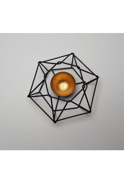 Evim Tatlı Evim Dekoratif Ferforje Tealıght Metal Mumluk Capella Gold