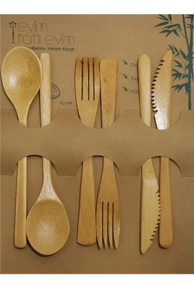 Evim Tatlı Evim Bambu 6 Parça Çatal Kaşık Bıçak Takımı