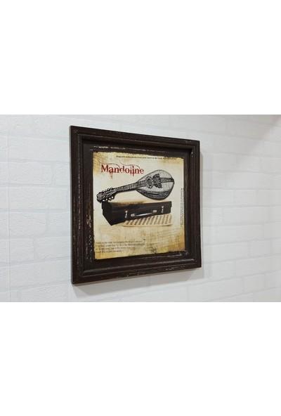 Evim Tatlı Evim Mandoline Ahşap Nostaljik Tablo 38X38 cm