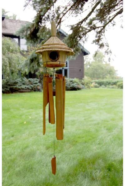 Evim Tatlı Evim Bambu Rüzgar Çanı Kuş Yuvalı Büyük Boy