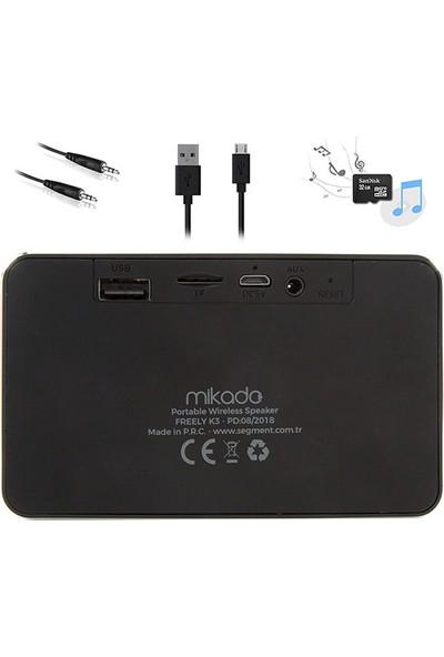 Mikado Freely K3 Siyah Bt 4.1V 5W Tf+Fm Destekli Bluetooth Speaker