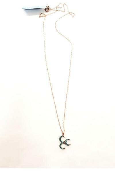 Tyelo Takı 925 Ayar Gümüş, Rose Rengi, Turkuaz Taşlı, 3'lü Hilal Kolye
