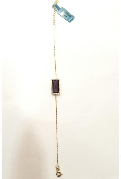 Tyelo Takı 925 Ayar Gümüş, Altin Sarisi, Amatist Taşlı Bilekklik