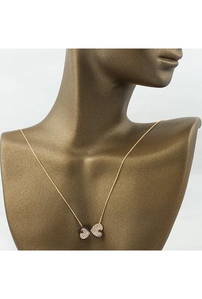Label Jewelry Topaz Taşlı Sonsuzluk 14 Ayar Rose Altın Kolye