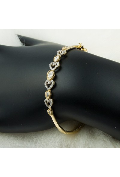 Label Jewelry Kalpli Damla Taşlı 14 Ayar Altın Bilezik