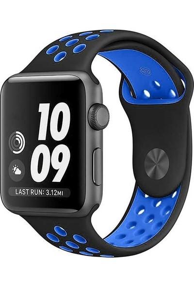 Booyse Apple Watch 2-3-4 Serisi Uyumlu Delikli Spor Silikon Saat Kordon Kayış - 38 - 40Mm