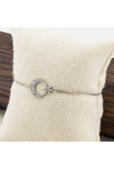 Takıhan 925 Ayar Gümüş Zirkon Taşlı Ay Yıldız Bayan Bileklik