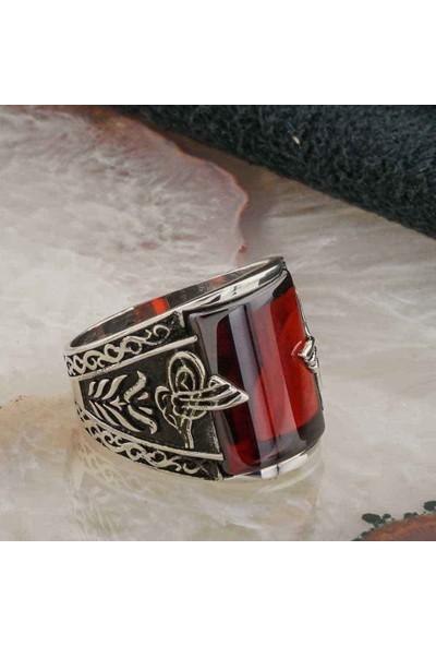 Takıhan Kırmızı Zirkon Taşlı Osmanlı Tuğralı Erkek Gümüş Yüzük