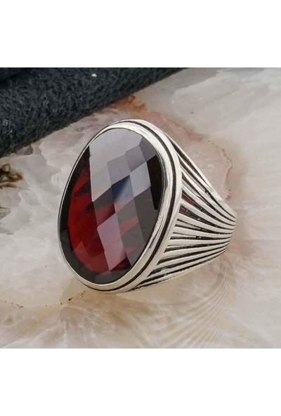 Takıhan 925 ayar Gümüş Kırmızı Taşlı Gümüş Erkek Yüzük Model 7