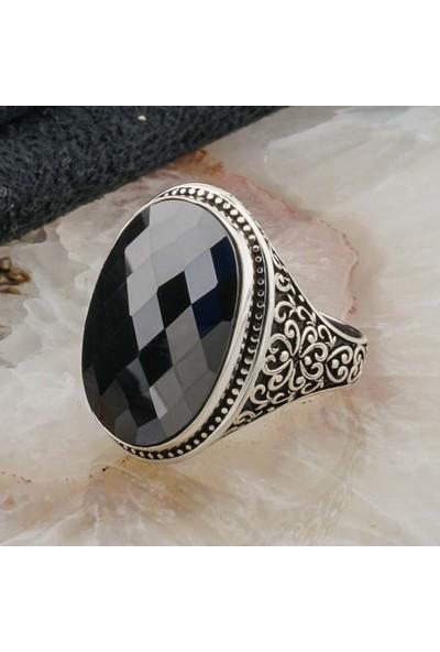 Takıhan 925 Ayar Gümüş Siyah Zirkon Taşlı Erkek Yüzük Model 4