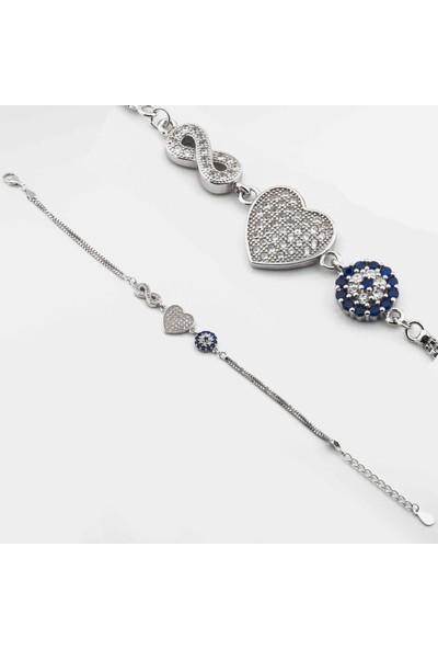 Takıhan 925 Ayar Gümüş Nazar Boncuklu Kalp Sonsuzluk Bayan Bileklik