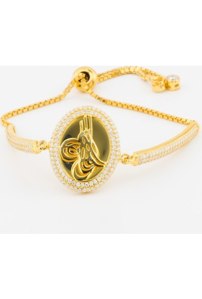 Takıhan 925 Ayar Gümüş Altın Yaldızlı Osmanlı Tuğralı Asansörlü Bileklik