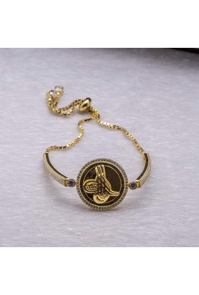 Takıhan 925 Ayar Gümüş Osmanlı Altın Kaplama Tuğrası Asansörlü Bileklik