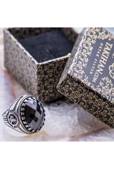Takıhan 925 Ayar Gümüş Siyah Zirkon Taşlı Osmanlı Tuğra Detaylı Yüzük
