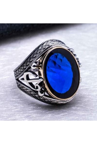 Takıhan 925 Ayar Gümüş Mavi Zirkon Taşlı Elif Vav Detaylı Yüzük