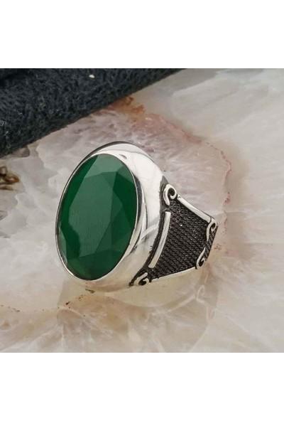 Takıhan 925 Ayar Gümüş Yeşil Zirkon Taşlı Erkek Yüzük
