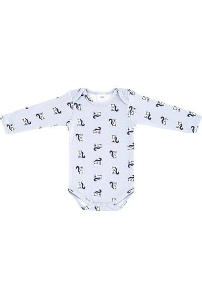 Uygun Bebe Sincap Desenli Uzun Kollu Bebek Body