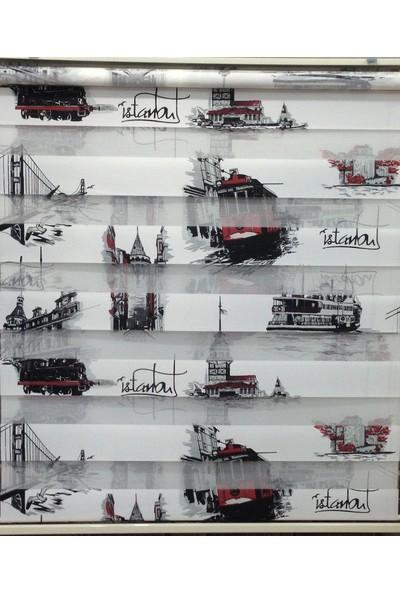 Zebraevim Siyah-Kırmızı İstanbul Desenli Zebra Perde Etek Dilimli