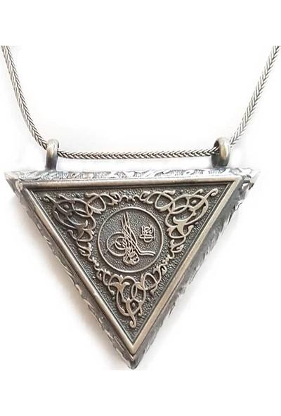 Takıhan 925 Ayar Gümüş Tuğralı Üçgen Muska Kabı
