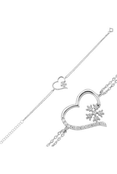 Nereze Sevgiliye Hediye Kalp Kar Tanesi Bileklik Gümüş Bileklik