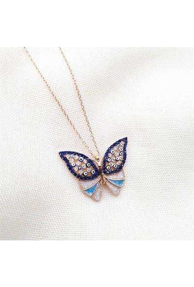 Nereze Mavi Taşlı Kelebek Kolye Bayan Gümüş Kolye