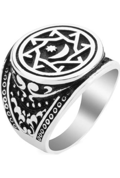 Nereze Abdulhamit Payitaht Yüzüğü Ay Yıldız Erkek Gümüş Yüzük