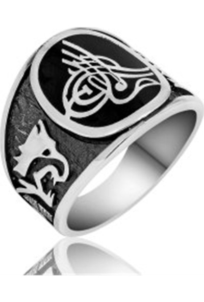 Nereze Göktürkçe Türk Yazılı Tuğralı Erkek Gümüş Yüzük