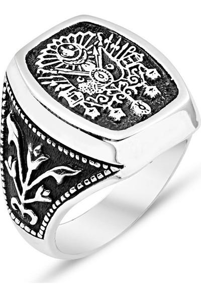 Nereze 925 Ayar Gümüş Osmanlı Armalı Erkek Gümüş Yüzük Nrz3075