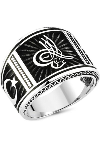 Nereze Ayyıldız Yüzük Osmanlı Tuğralı Yüzük Erkek Gümüş Yüzük