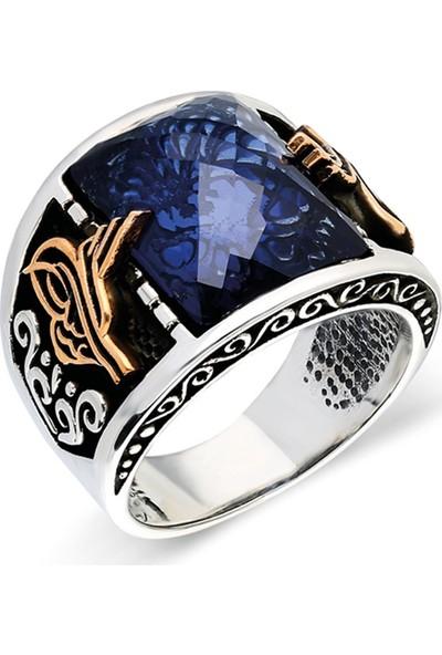 Nereze 925 Ayar Gümüş Mavi Zirkon Taşlı Erkek Gümüş Yüzük Nrz014