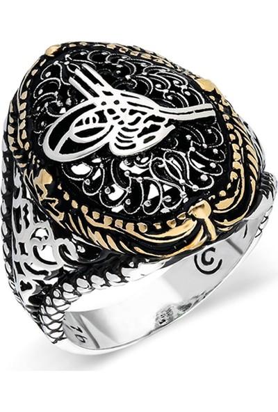 Nereze 925 Ayar Gümüş Osmanlı Tuğralı Erkek Gümüş Yüzük Nrz033