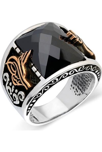 Nereze 925 Ayar Gümüş Siyah Zirkon Taşlı Erkek Gümüş Yüzük Nrz038
