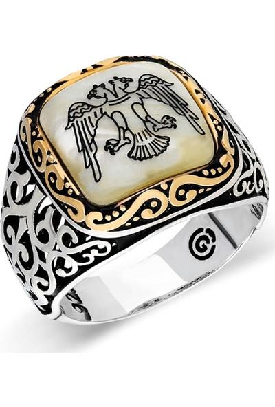 Nereze 925 Ayar Gümüş Sedef Çift Başlı Kartal Erkek Gümüş Yüzük Nrz046