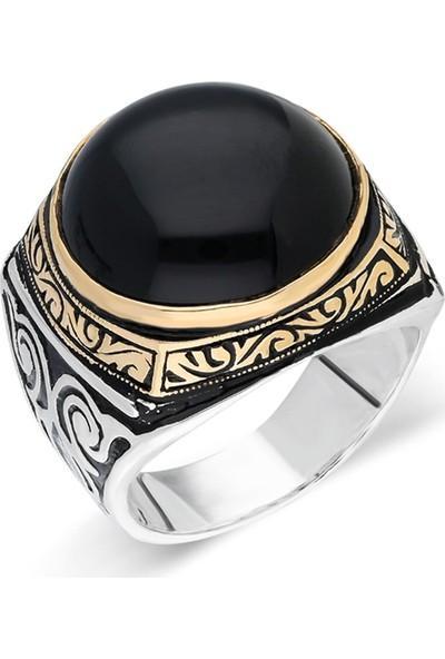Nereze 925 Ayar Gümüş Yuvarlak akik Taşlı Erkek Gümüş Yüzük Nrz055