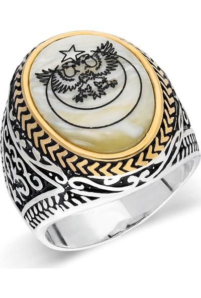 Nereze 925 Ayar Gümüş Sedef Taşlı Çift Başlı Kartal Erkek Gümüş Yüzük Nrz063
