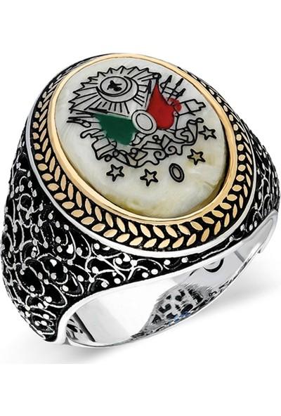 Nereze 925 Ayar Gümüş Osmanlı Armalı Erkek Gümüş Yüzük Nrz065