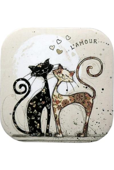 Haytap Aşık Kediler Bardak Altlığı