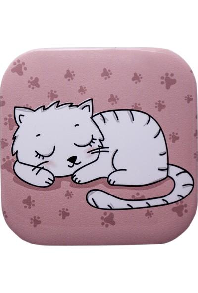 Haytap Beyaz Kedili Bardak Altlığı