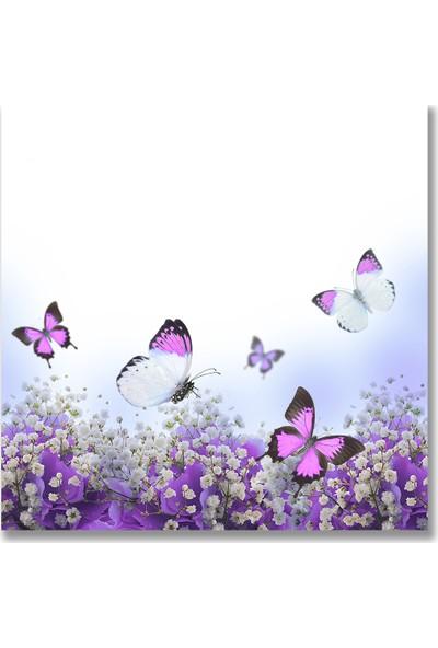 Decori̇ta Mor Kelebek Baskılı 52x60 cm Ocak Arkası
