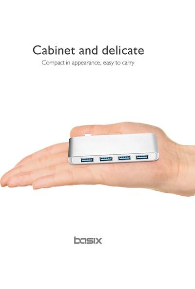 Basix USB C To 4 Port USB 3.0 Çoklayıcı Hub Converter - Silver (BSX-T4S)