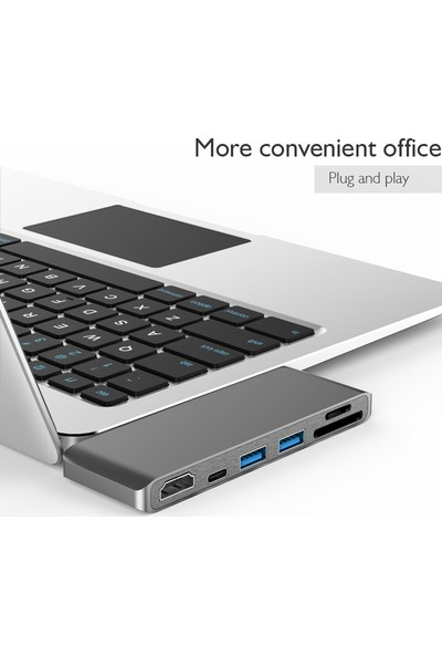 Basix USB C 6 in 1 Multiport Alüminyum HDMI Dönüştürücü, USB 3.0 Hub, Kart Okuyucu - Space Gray (BSX-T6)