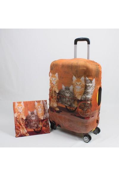 My Saraciye Valiz Kılıfı Orta Boy İçin Klf Bisikletli Kediler-M