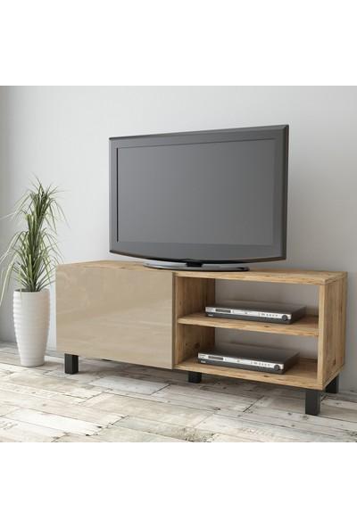 Yurudesign Aqua Tv Ünitesi High Gloss 120cm 1 Kapak Cappuccino AU1-A1B-C