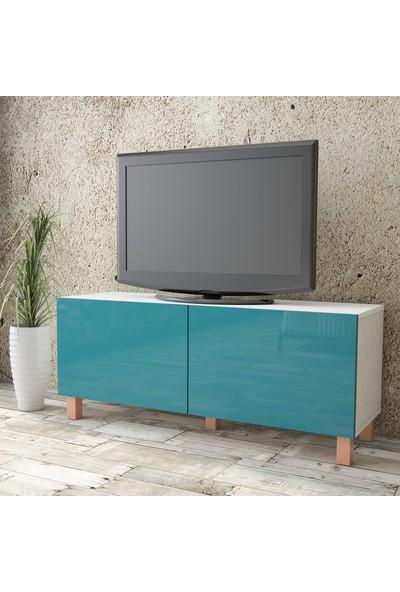 Yurudesign Aqua Tv Ünitesi High Gloss 120cm 2 Kapak Turkuaz AU2-W1K-TT