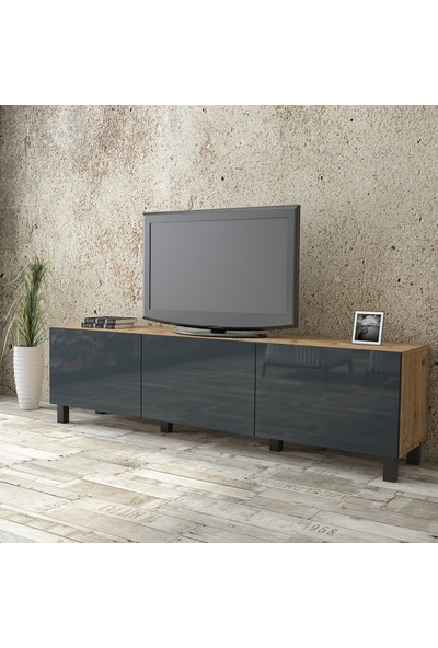 Yurudesign Aqua Tv Ünitesi High Gloss 180cm 3 Kapak Gri AU5-A2B-AAA